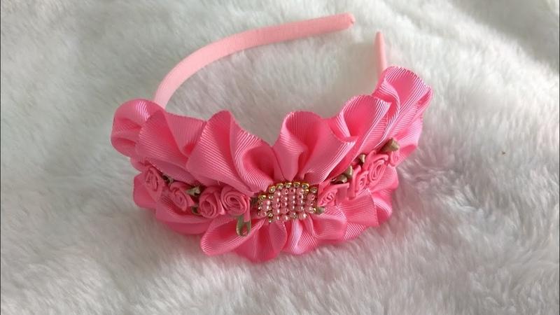 Tiara bordada com fita de gorgurão flor de fita@flor rococó