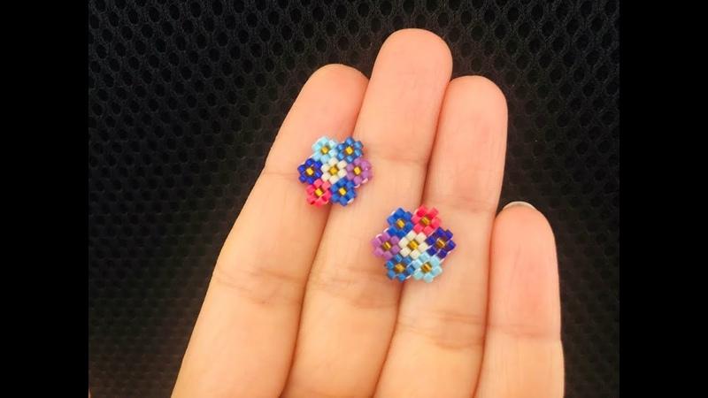 Cluster Flower Post or Stud Earrings    Brick Stitch Beaded Earrings