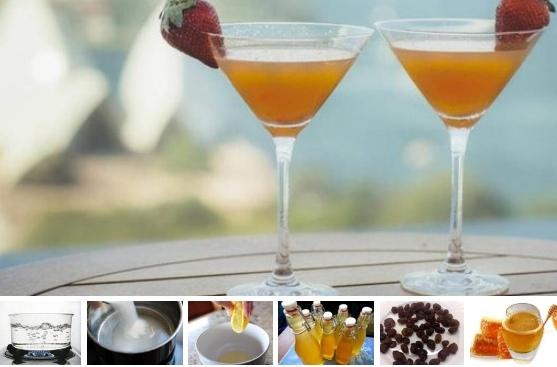 Финская медовуха Ингредиенты:Сок лимона из 2 шт.Изюм 0,5 ч. л.Коричневый сахар 250 гСахар-песок 250 гКорицащепоткаГречишный мед 2 ст. л.Сухие дрожжи 1/4 ч. л.Вода 400 млСпособ