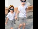 Парные наряды белая футболка и шорты в полоску/юбка комплект одежды для мамы папы сына дочки