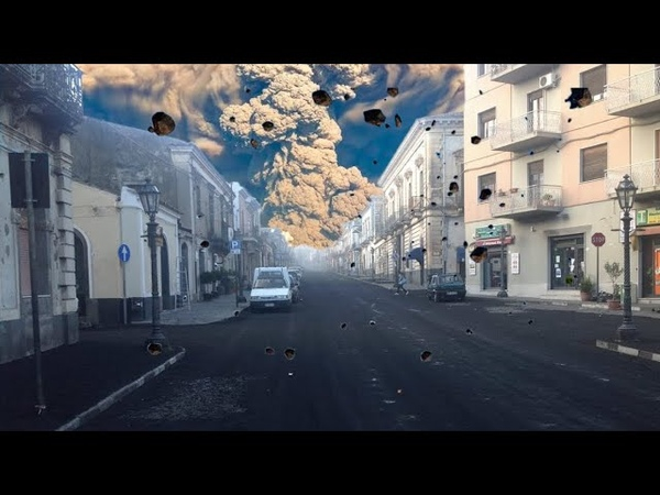 Apocalypse in Italy The city is covered with a volcanic eruption Mount Etna in Catania Sicily
