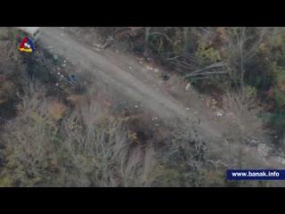 Новые кадры уничтоженной на  северном направлении техники ВС Азербайджана
