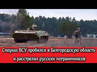 Срочно: Спецназ ВСУ пробился в Белгородскую область и расстрелял русских пограничников