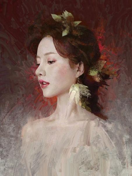 Современный художник из Китая - Yalun. Автор рисует портреты девушек стилизуя их под традиционную живопись.Портреты почти полностью созданы на основе референсов - реальных фотопортретов реальных