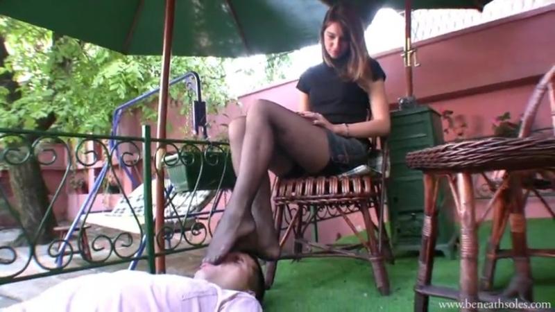 Foot fetish caffe licking feet nylon slave mistress femdom feet goddess