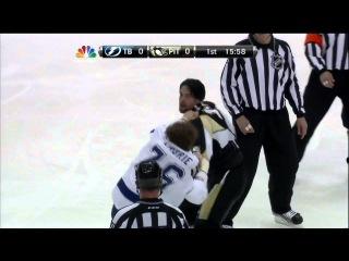Deryk Engelland vs Pierre-Cedric Labrie fight Mar 4 2013 Tampa Bay Lightning vs Pittsburgh Penguins