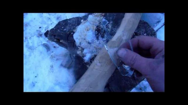 Обработка древесины (топорища) стеклом если нет наждачки. Скобление, вместо шлифовки.