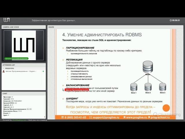 Эффективная архитектура баз данных [GeekBrains]
