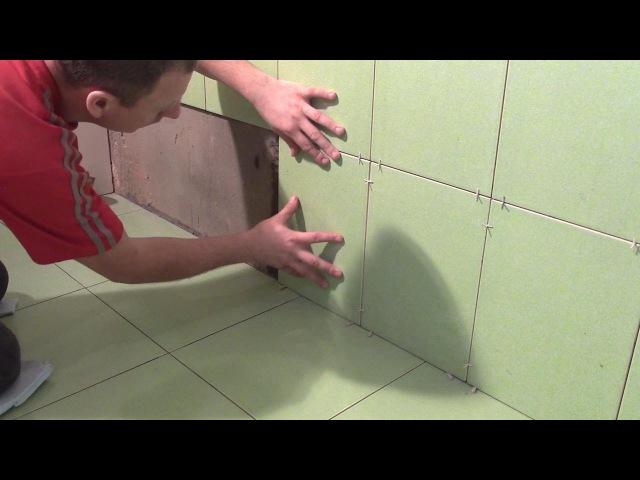 Укладка плитки в ванной 15часть Разметка и подрезка первого и последнего ряда