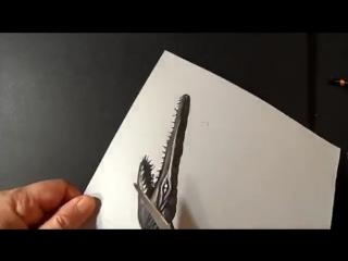 Trick art drawing 3d crocodile, visual illusion