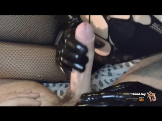 Handjoy _ HandJob with black leather gloves while showing feet and ass