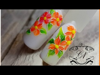 """Простой дизайн ногтей """"Тропические цветы"""". Плотные неоновые гель лаки"""