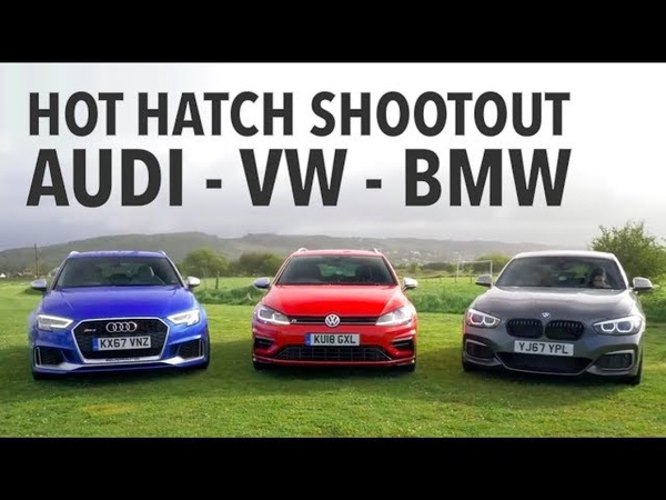 Hot Hatch Shootout BMW M140i vs Audi RS3 vs VW Golf R w Tiff Needell and Ryan Cullen