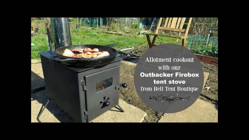 Allotment cookout with our Outbacker Firebox tent stove
