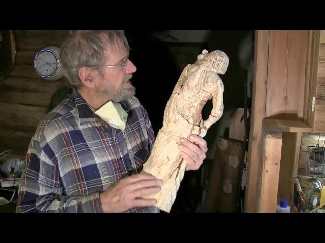 Деревянная скульптура Стива Лестера. Резьба по дереву болгаркой. /Wooden sculpture Steve Lester.