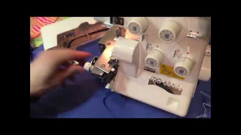 Оверлок Juki MO 654 DE видео обзор. Шьем разные виды тканей.