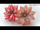 Цветы канзаши из узкой ленты Kanzashi Flower Tutorial Flores de fitas Ola ameS DIY