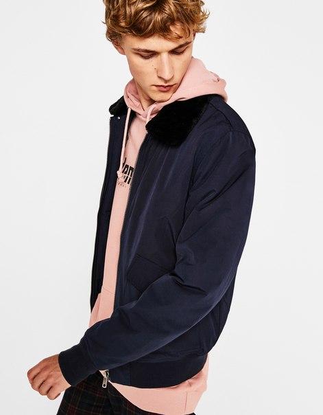 Куртка-бомбер с меховой отделкой на воротнике