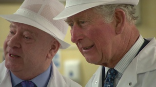 Prince Charles has a sweet day out at a toffee factory