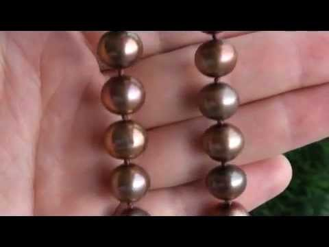 UNIQUE Chocolate Freshwater Pearl Necklace w/ Solid 14K Gold Clasp - eBay Auction