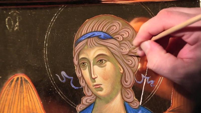 Dipingere licona di un Angelo 9.2b Capelli - lumeggiatura, grafia e velatura