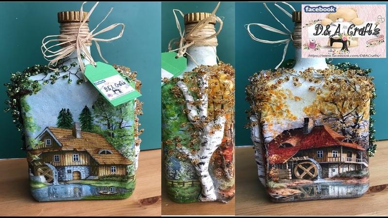 DIY How to make seasons decoration on whiskey bottle TUTORIAL