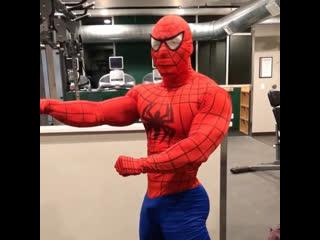 Человек-паук в тренажерном зале