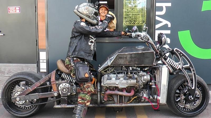 Самодельный мотоцикл с v8 GangRena. Испытания в городе. Custom bike with v8. Серия 7.