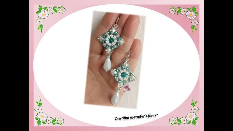 Orecchini November's flover con O beads diamonduo cipollotti e superduo