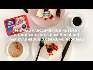 Классический чизкейк с творожным сыром Hochland для кулинарии и свежими ягодами