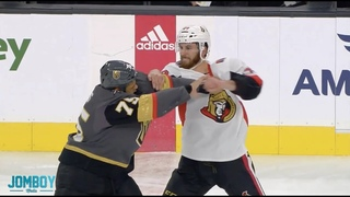 Ryan Reaves Waits Patiently and Casually blocks a punch in a fight with Scott Sabourin, a breakdown