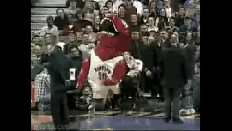 Mascot falling