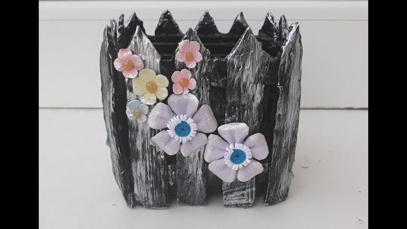 Reciclaje, vas pentru flori din carton si plastic - Recycling, cardboard and plastic flower pot