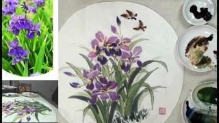 Chinese brush painting- Iris flower