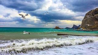 Шторм в КРЫМУ!  Судак 2020 Полет чаек над Морем. Красивая музыка на пианино