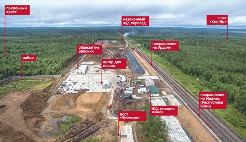 План станции Шиес. В план не вошли посты «Баня» и «Крепость» — они находятся за левой границей картинки.