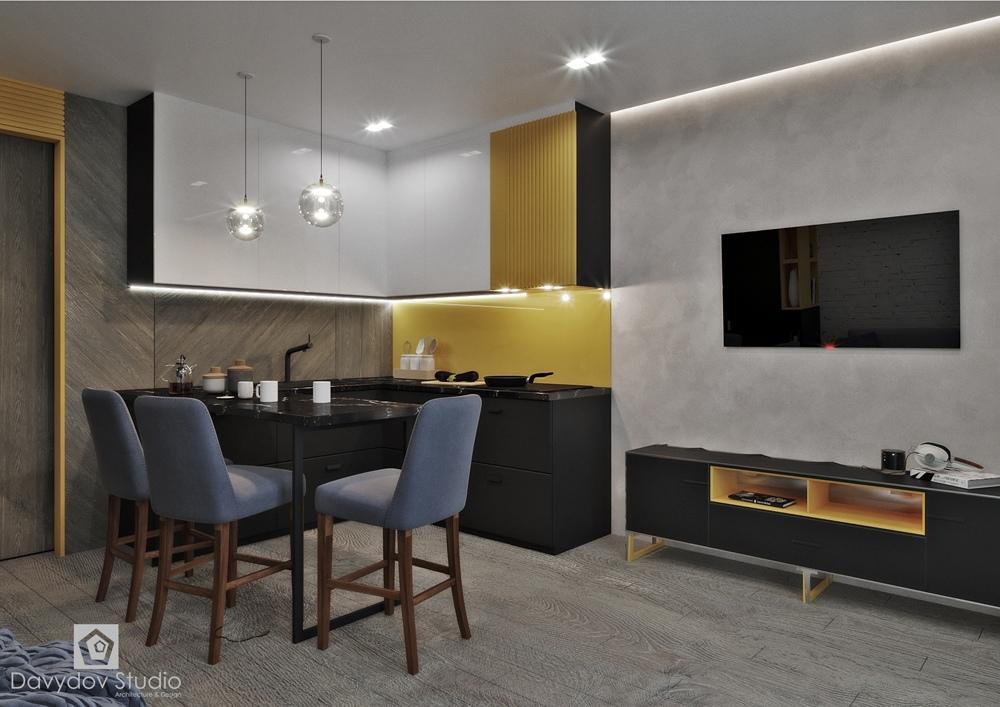 Проект квартиры-студии типовой планировки 28 кв.
