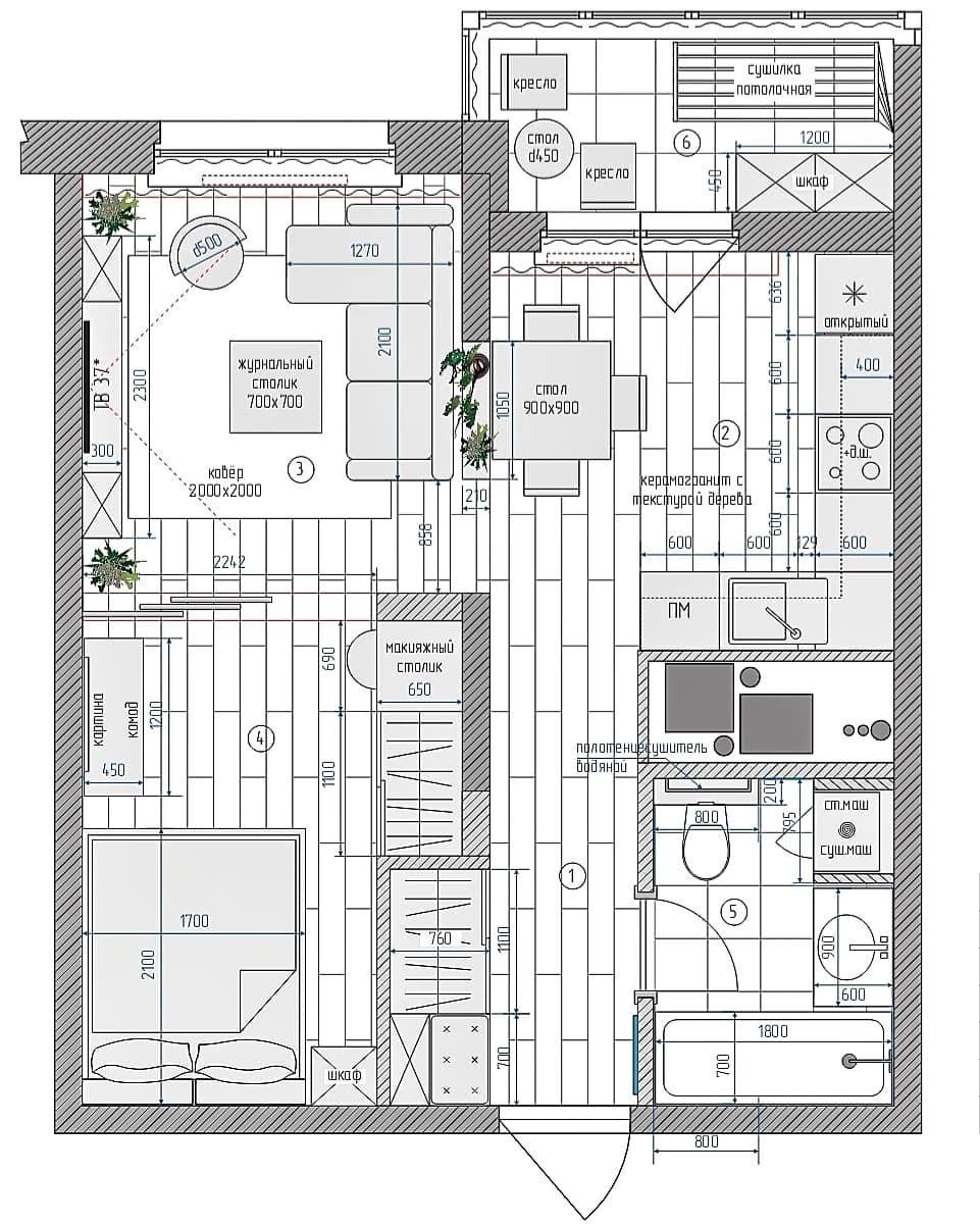 Проект квартиры-студии 44 кв.