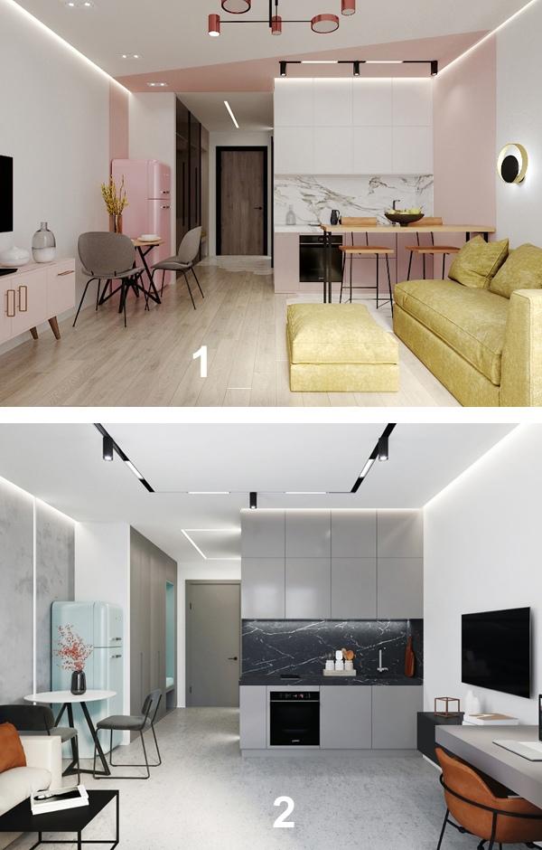 Какой вариант больше нравится: 1 (с розовым) или 2 (серый)?