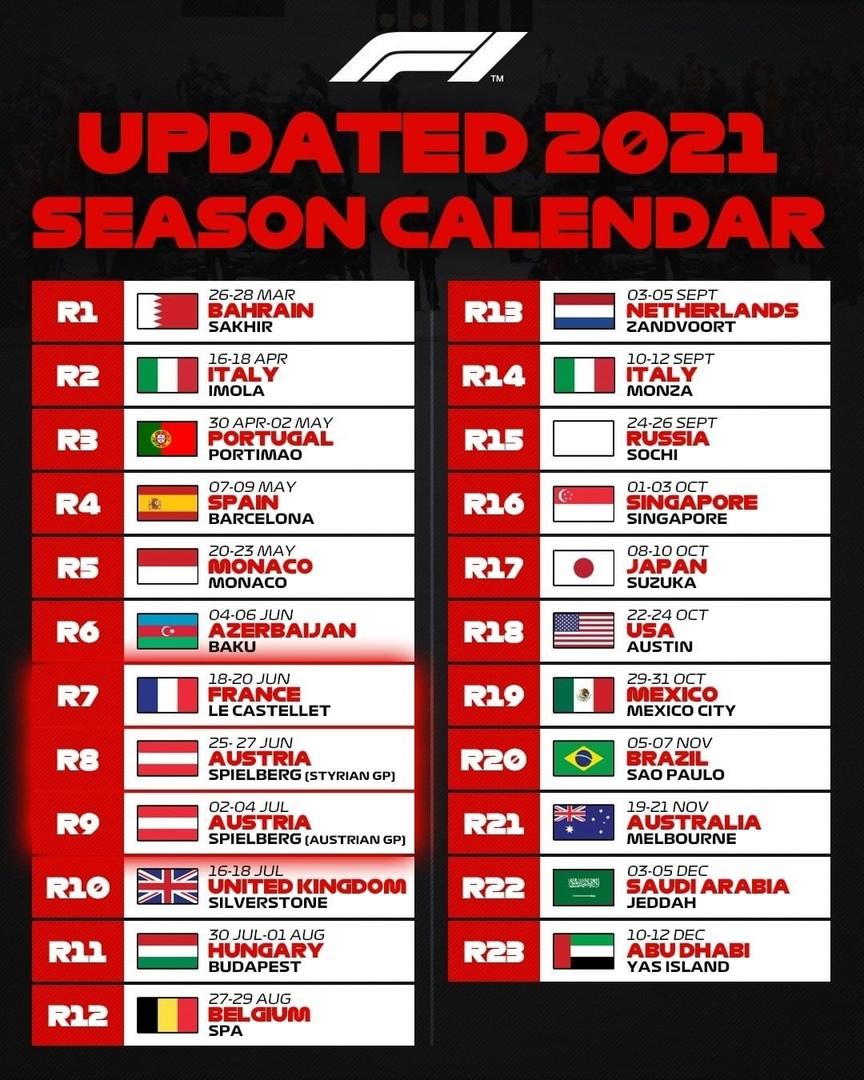 F1 2021 calendar last updates