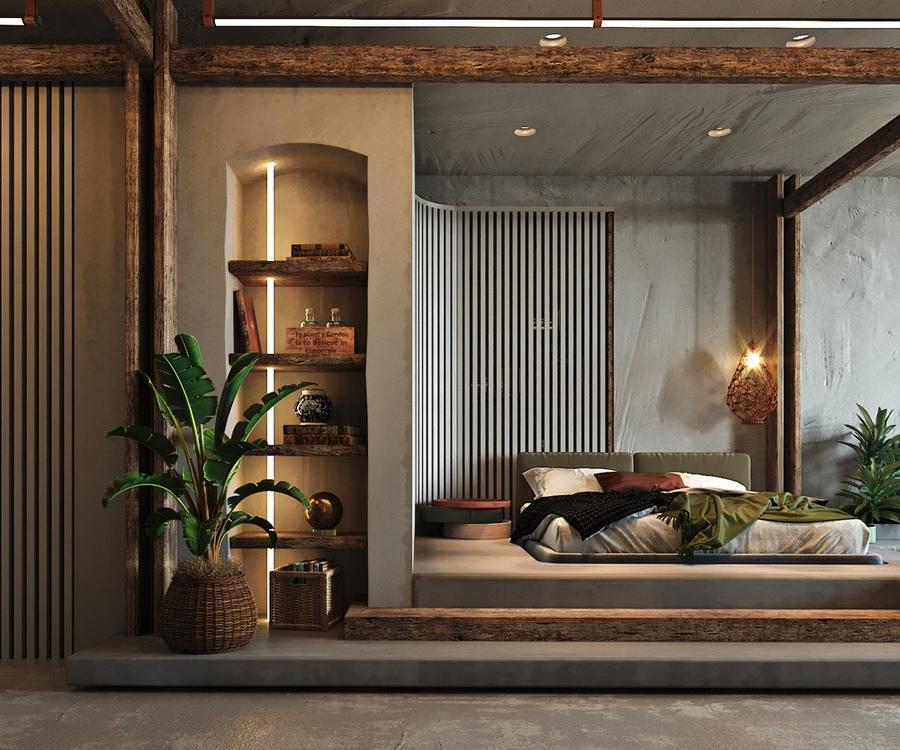 Проект просторной студии 60 м с элементами лофта и бохо для мужчины с Тайваня.