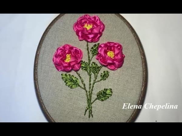Как вышить красивые цветы атласной лентой